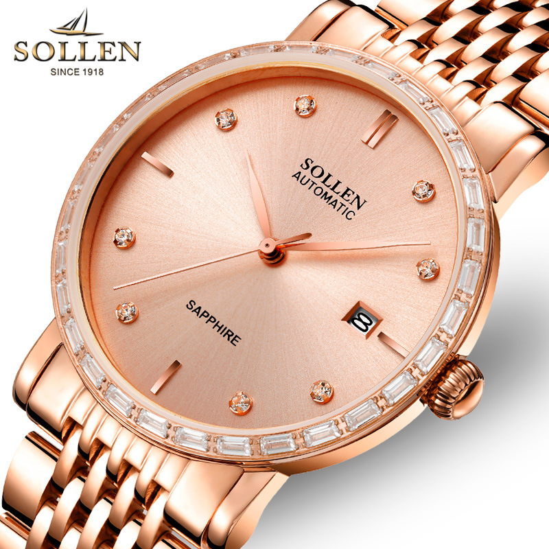 SOLLEN luxury brand top men s business automatic mechanical watch men s