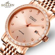 SOLLEN luxury brand top men's business automatic mechanical watch men's steel calendar watch waterproof clock 2017 latest