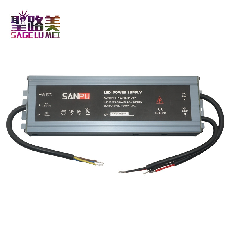 Free shipping 175V-240V AC to 12V 24V DC 250W Ultra thin waterproof power supply Aluminum alloy LED Transformer Driver IP67 dhl free ship 250w waterproof led power supply ac90 250v to 12v 24v output constant voltage driver 2 year warranty transformer