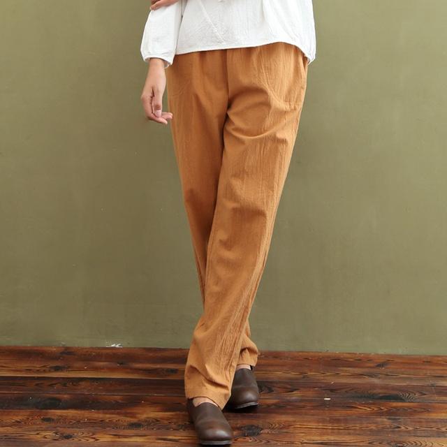 Diseño Original de Lino de Algodón de Las Mujeres Sólidas Pantalones de cintura Elástica Pantalones Harem Ocasional Del Verano Marca de Moda Linda femme 5048