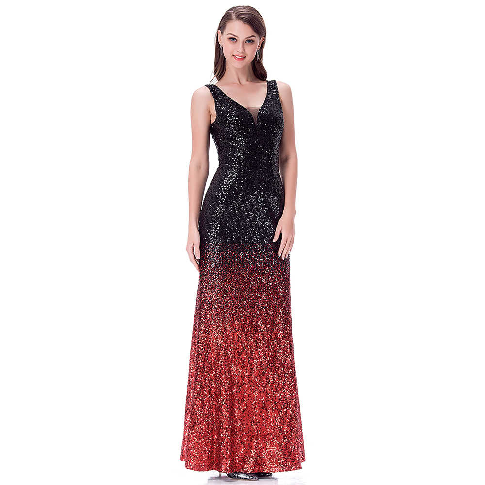 Angel-fashions Women's Elegance Luxury Mother of Bridesmaid Dress V Neck Gradient Sequin Black Red Formal Party Gown Plus 382