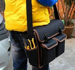 Оптовая продажа, новая черная утепленная сумка-рюкзак из ткани Оксфорд, многофункциональный инструмент для инструментов на ремне, сумка дл...
