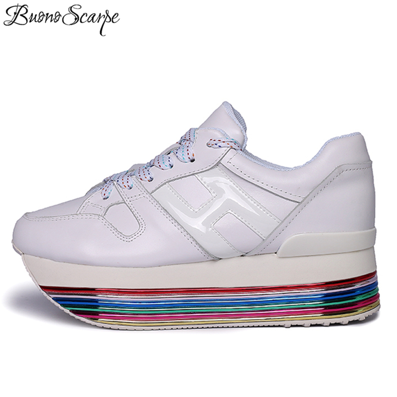 Extended Rainbow Sole Platform Women Sneakers Genuine Leather Casual Espadrills Female Ladies Shoes Fashion H Sneakers
