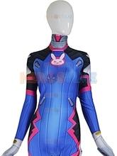 D VA Costume Female/Women/Girls/Lady Halloween Cosplay dva Zentai Catsuit Custom Lycra Spandex Digital Print D VA Bodysuit
