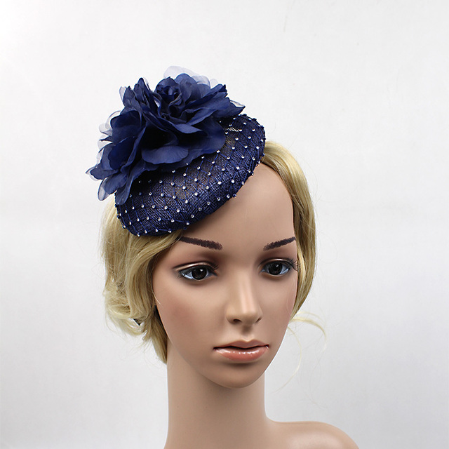 cf54fc2288b65 2016 Vintage Navy Blue Rhinestone Sinamay Hat Bride Flower Fascinator  Sinamay Hairband Wedding Party Headband Hair