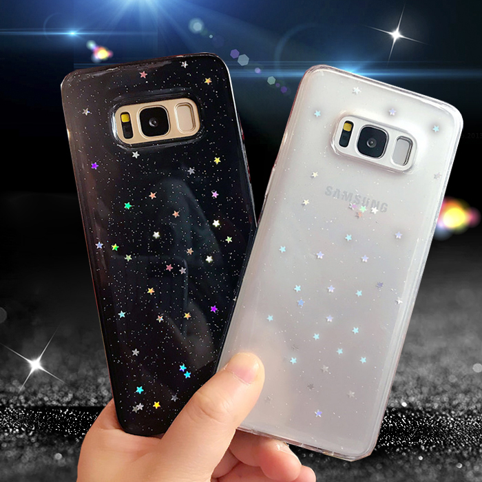 on sale 1d33d 929de Glitter Stars Bling Samsung Galaxy S8 Plus S8plus Soft Coque Cover Samsung  Galaxy S7 Edge Galaxy S9 Plus Cases