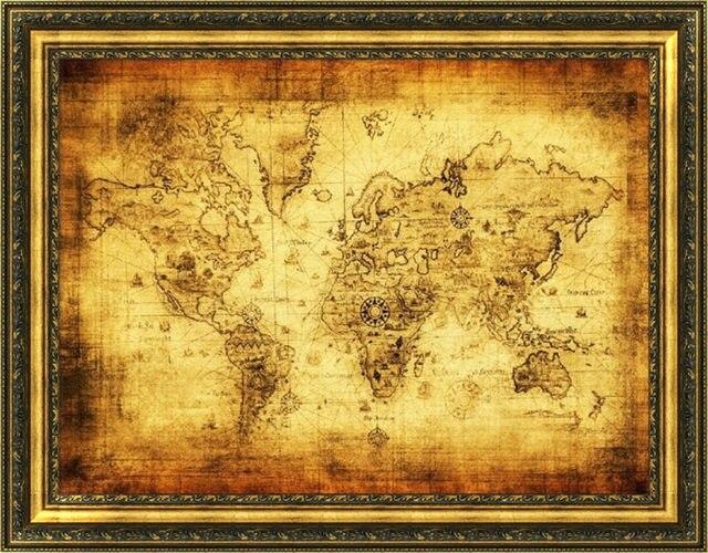 Online Shop ISHOWTIENDA Large Vintage World Map Home Decoration - Large world map antique