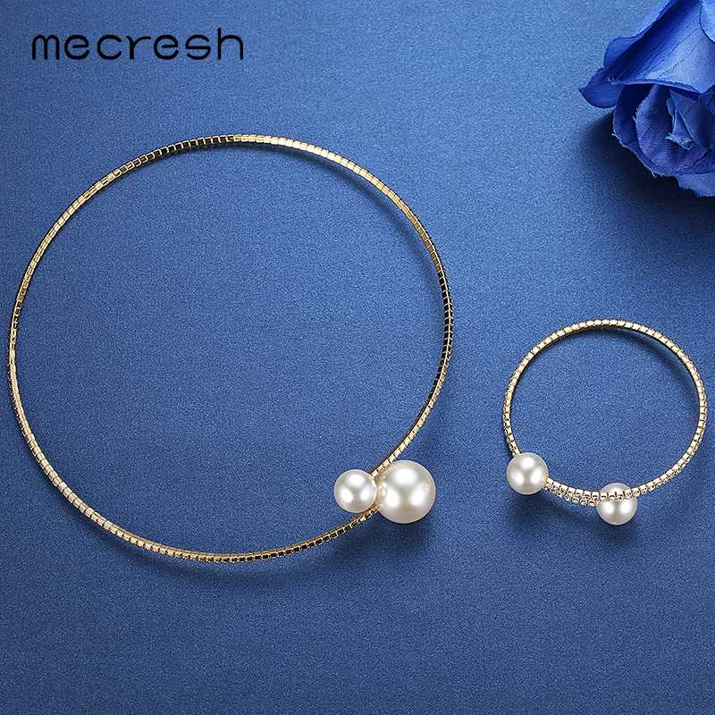 Mecresh Simple Simulated Pearl Bridal Jewelry Sets Crystal Fashion Wedding Jewelry Silver Color Necklace Sets for Women MTL415