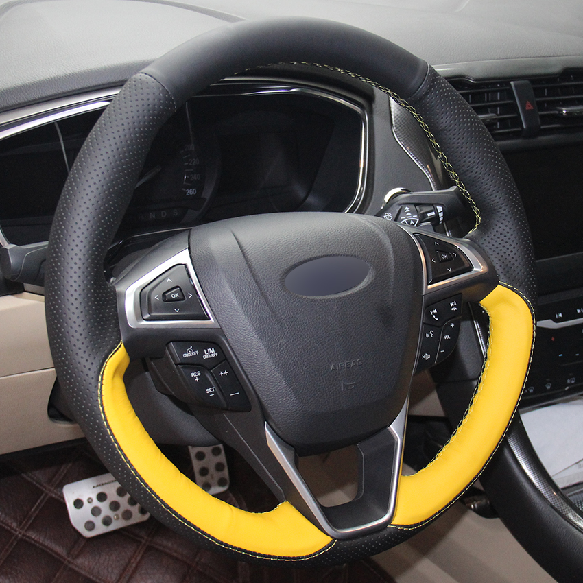 Black Natural Leather Yellow Car Steering Wheel Cover For Ford Fusion Mondeo 2017 Edge 2016 In Covers From Automobiles