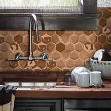 Wholesale 5 Pieces Rose Gold 3D Hexagon Stainless Steel House Decoration Mosaic Tiles 12 Inch Sanding Kitchen Wall Stickers