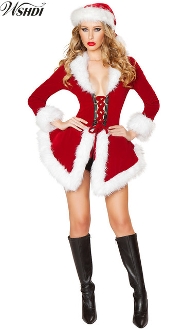 Women Sexy Red Santa Costume Adult Mrs Miss Claus Sexy Xmas Costumes
