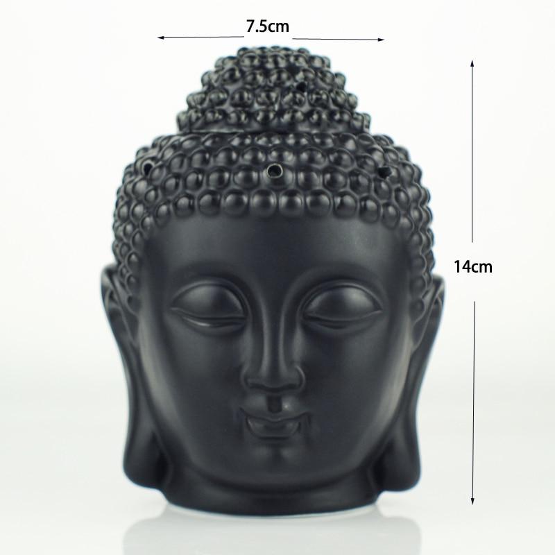Aromatherapy Oil Burner Buddha Head Aroma Oil Station Ceramic Oil Furnace Temple India Incense Black White Buddha Incense W $