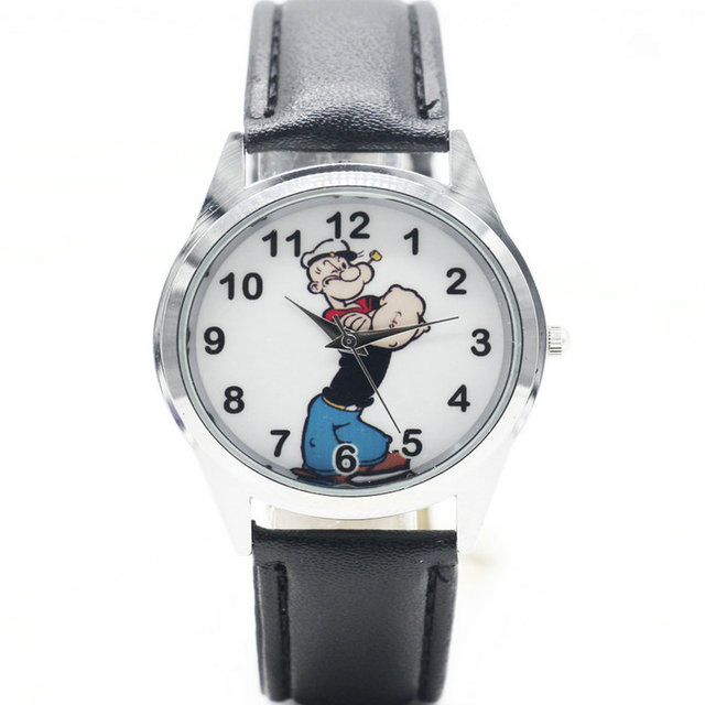 Popeye the Sailor the Explorer Quartz Kids Sports fashion cartoon leather Watch