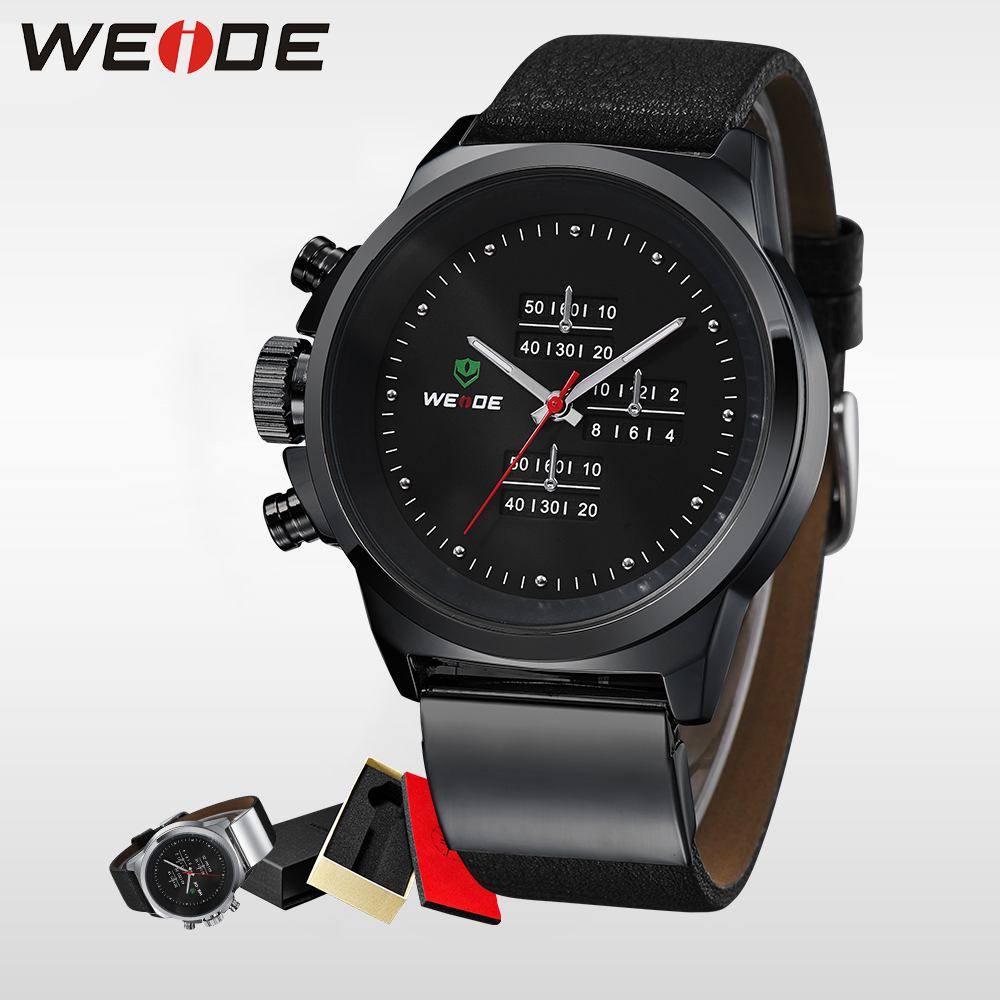 WEIDE Watches Black Mens Military Army Watch Genuine Leather Strap Waterproof Gifts For Men mens watches the best luxury brand