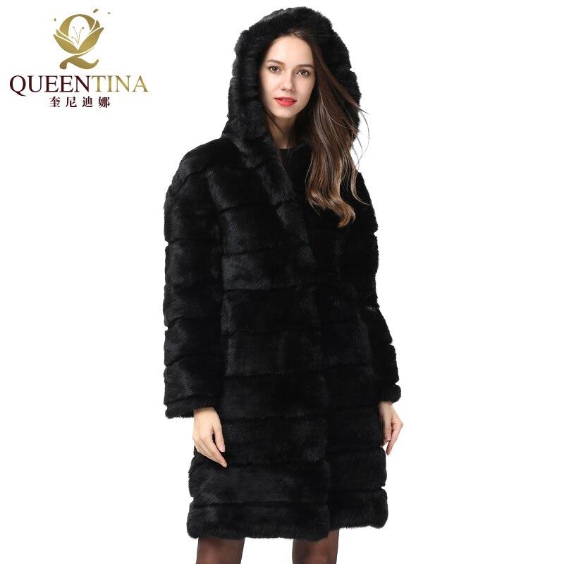 Manteau Pelt 2018 Fourrure Full Chaud Manteaux Noir Hiver Noël Épais Lapin Long Naturel Réel Nouveau Femmes Veste Doux De qfOqR
