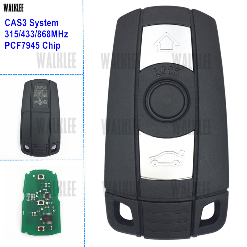 WALKLEE Remote Smart Key Suit for BMW CAS3 System 1/3/5/7 Series X5 X6 Z4 315LP 315MHz 433MHz 868MHz Optional PCF7945 Chip