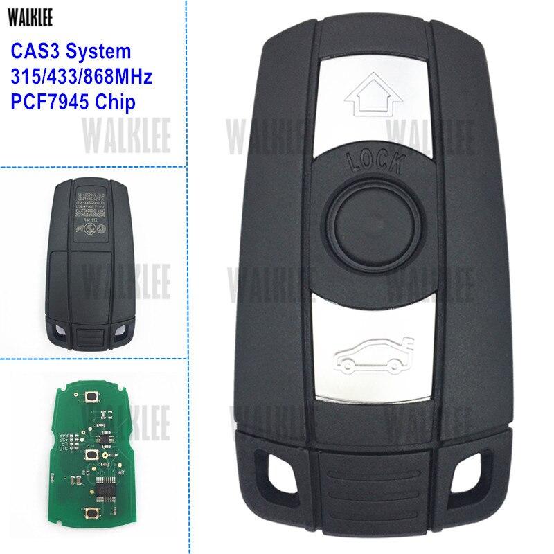 WALKLEE Terno Chave Remoto Inteligente para BMW CAS3 Sistema 1/3/5/7 série X5 X6 Z4 315LP 315 MHz 433 MHz 868 MHz Opcional PCF7945 Chip