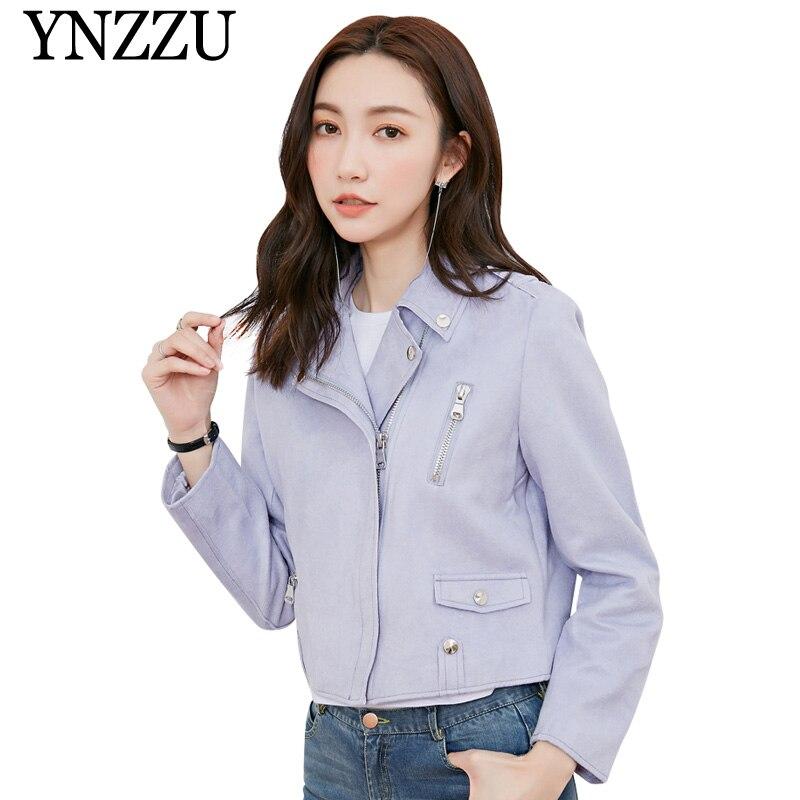 YNZZU New Chic 2019 purple short women   leather   jacket Long sleeve   Suede     Leather   Bomber Jacket Autumn Zip female PU Coat YO820