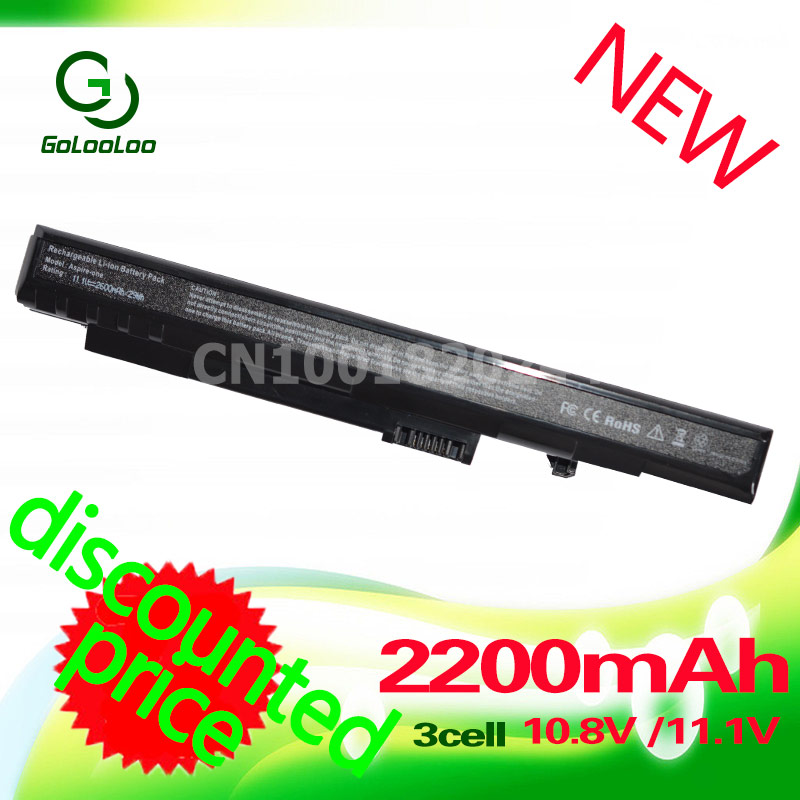 Golooloo 3 Cells 11.1v <font><b>2200MaH</b></font> laptop <font><b>battery</b></font> for Acer Aspire One A110 A150 ZG5 UM08A31 UM08A72 UM08A71 UM08A73 UM08B74 black image