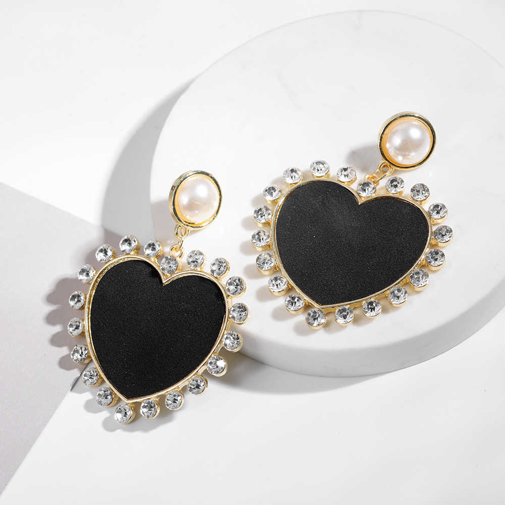 Black Big Heart Shape Drop Dangle Earring Fashion Large Crystals Pearl Statement Hanging Earring For Women Wedding Jewelry