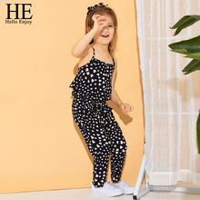 HE Hello Enjoy Summer Baby Girls Clothing Sets Sleeveless Polka Dot Print Girls Jumpsuit Kids Clothes Outfits Children Clothing недорого