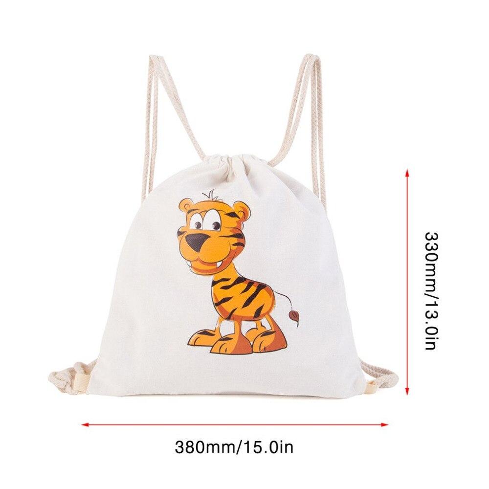 Men Women Cotton Linen Drawstring Backpack Cute Animal Panda Tiger Bag Lion Rabbit Printed Outdoor Swimming Beach Travel Kids In Bags From Sports
