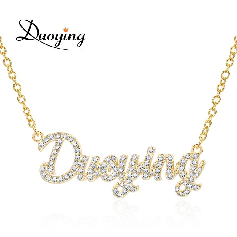 Duoying 2019 циркониевое ожерелье s ожерелье с подвеской для женщин каменная цепь женское персонализированное ожерелье с именами начальные букв
