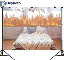 Dephoto Christmas Decor Vinyl Photography Background Pine Forest Headboard Bed Indoor Theme Children Backdrops for Photo Studio(China)