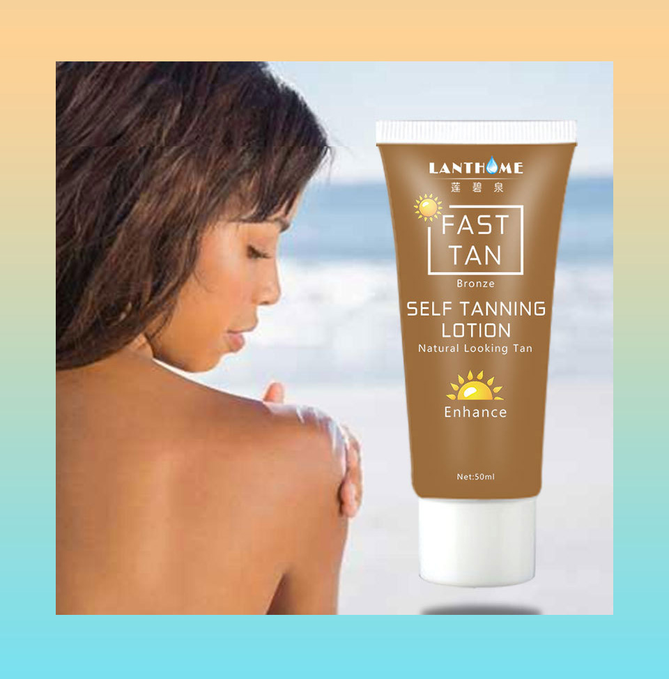 Lanthome Body Bronze Self Sun Tanning Enhance Lotion Tanning Cream Natural Bronzer Sunscreen Tanner Lotion Skin Darken TSLM2(China)
