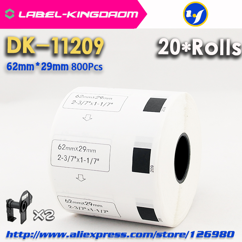 20 Refill Rolls Compatible DK 11209 Label 62mm 29mm 800Pcs Compatible for Brother Label Printer White