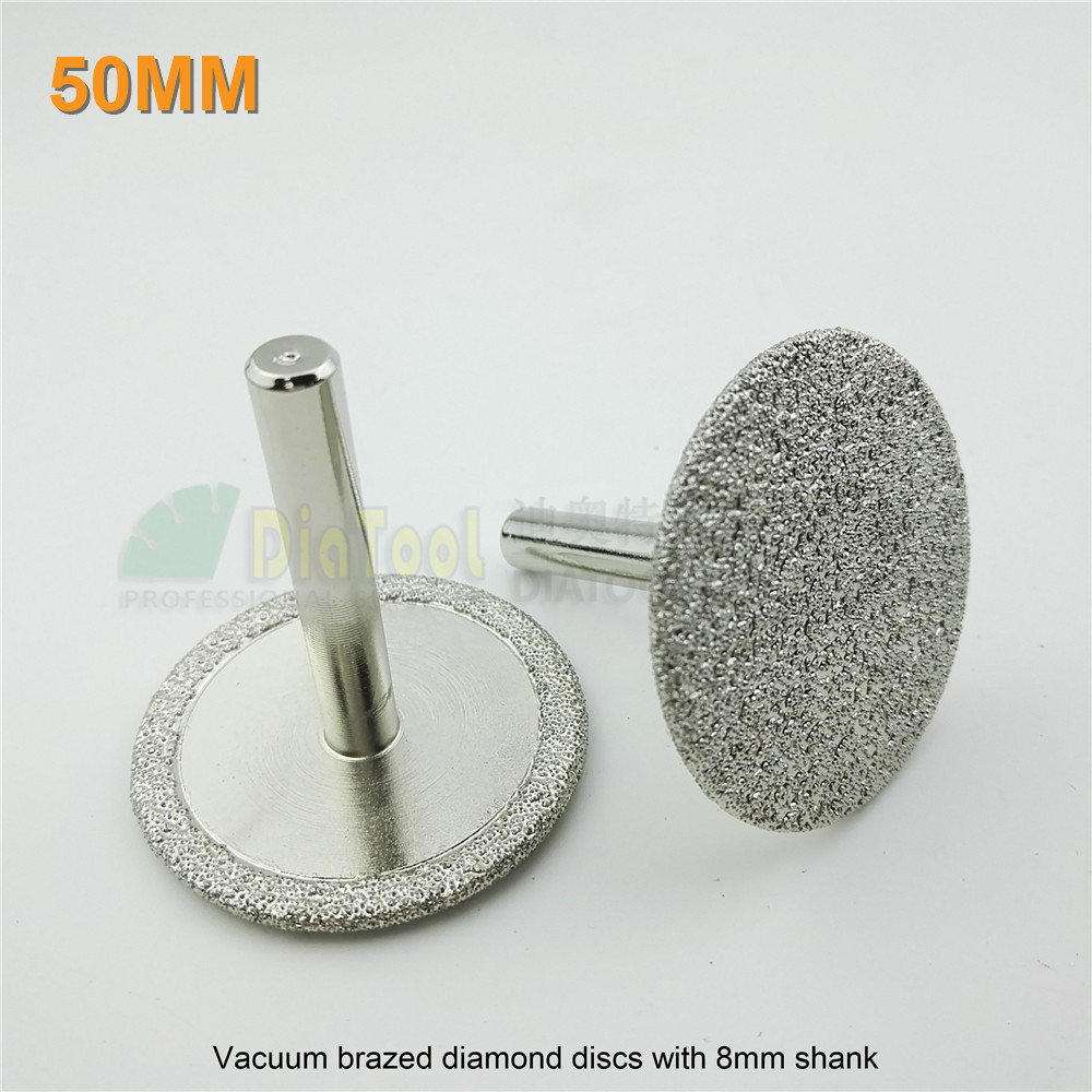 DIATOOL 2pcs/pk Diameter 50mm Vacuum Brazed Diamond Discs With 8mm Shank 2