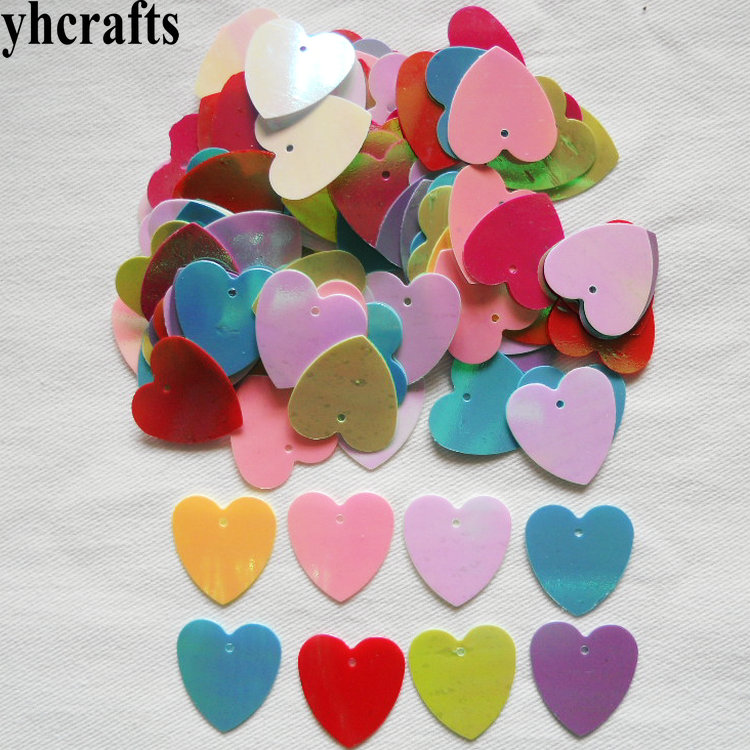 25gram/Lot 16mm Milk Heart With Hole Sequin Craft Material Kindergarten Arts And Crafts Intelligence Creative Activity Item OEM