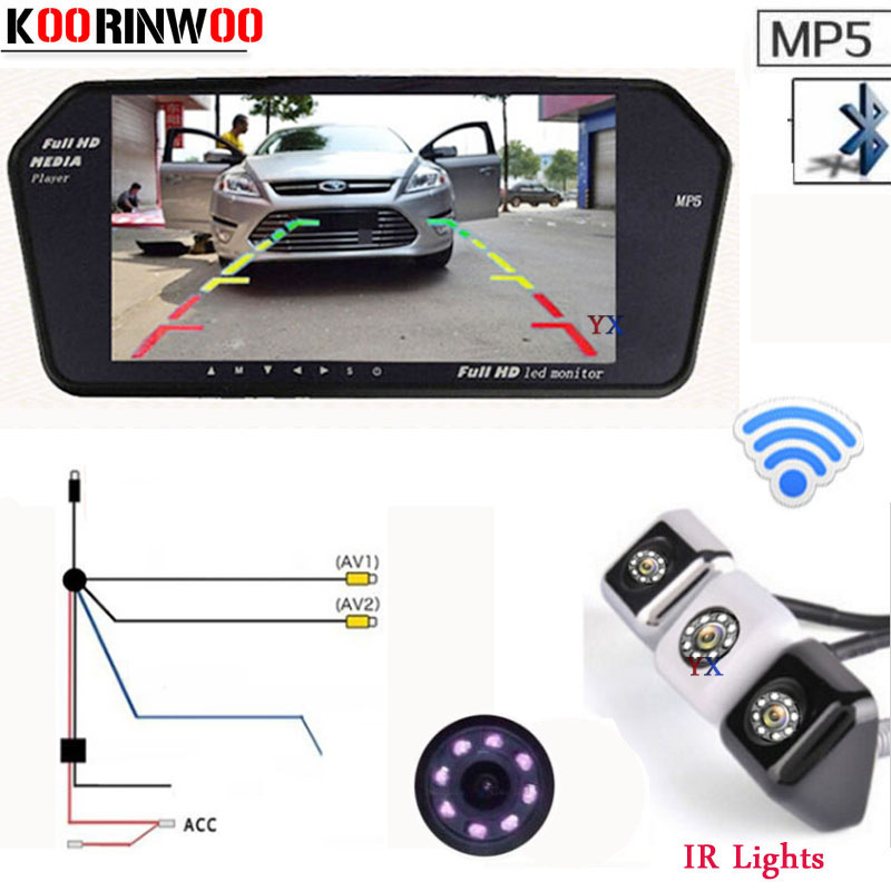 Koorinwoo Wireless HD 7'' Monitor 1024*600 Bluetooth MP5 MP4 FM Car Rear view Camera BackUp Reversing Parking System Auto Video