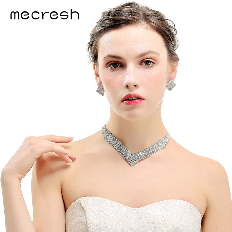 Mecresh Crystal Bridal Wedding Jewelry Sets African Beads Silver Color Rhinestone Women Necklace Sets Engagement Jewelry