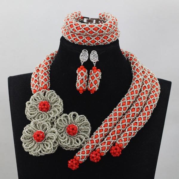 Luxe rouge indien mariage accessoires bijoux ensembles argent fleur Chunky perles africaines bijoux conception nouveau bijoux ensemble cadeaux QW460