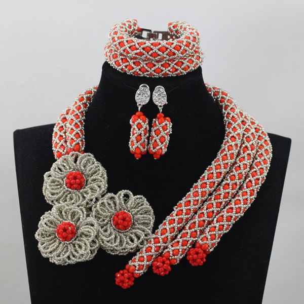 Luxury Red Indian Wedding Accessories Jewelry Sets Silver Flower Chunky African Beads Jewelry Design New Jewelry
