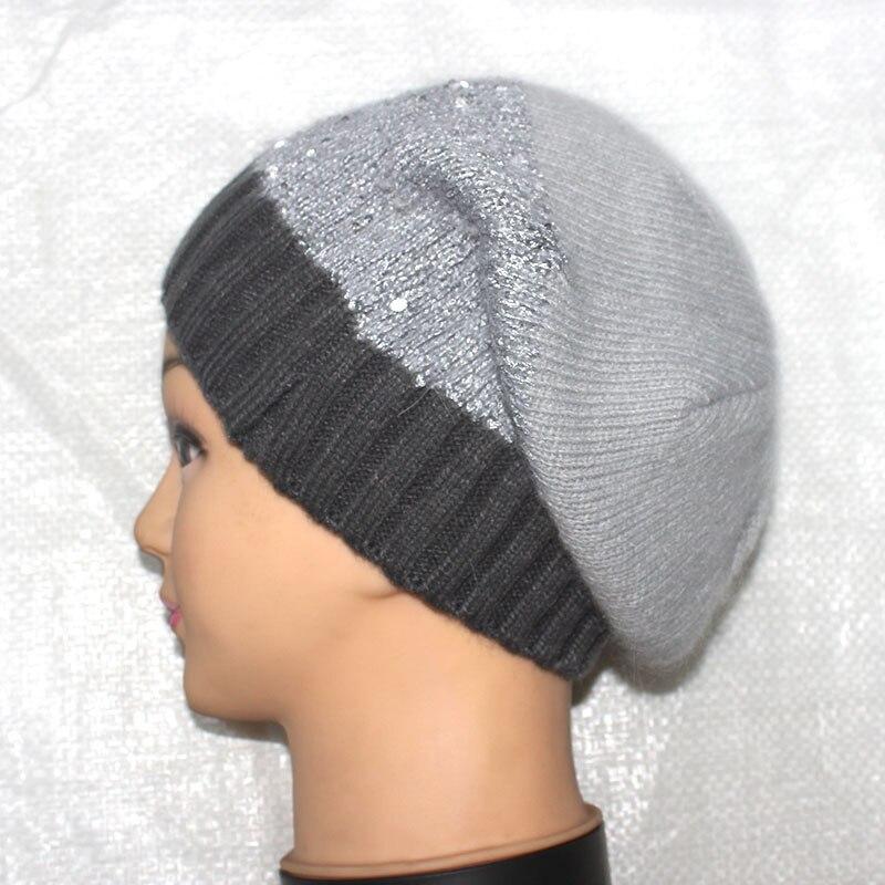 Autumn/Winter Warm Knit Angora Sequins Hat Women/Men Casual High Quality Gray Woolen Rabbit Beanie Cap Boy/Gilr Hip-Hop Gorro