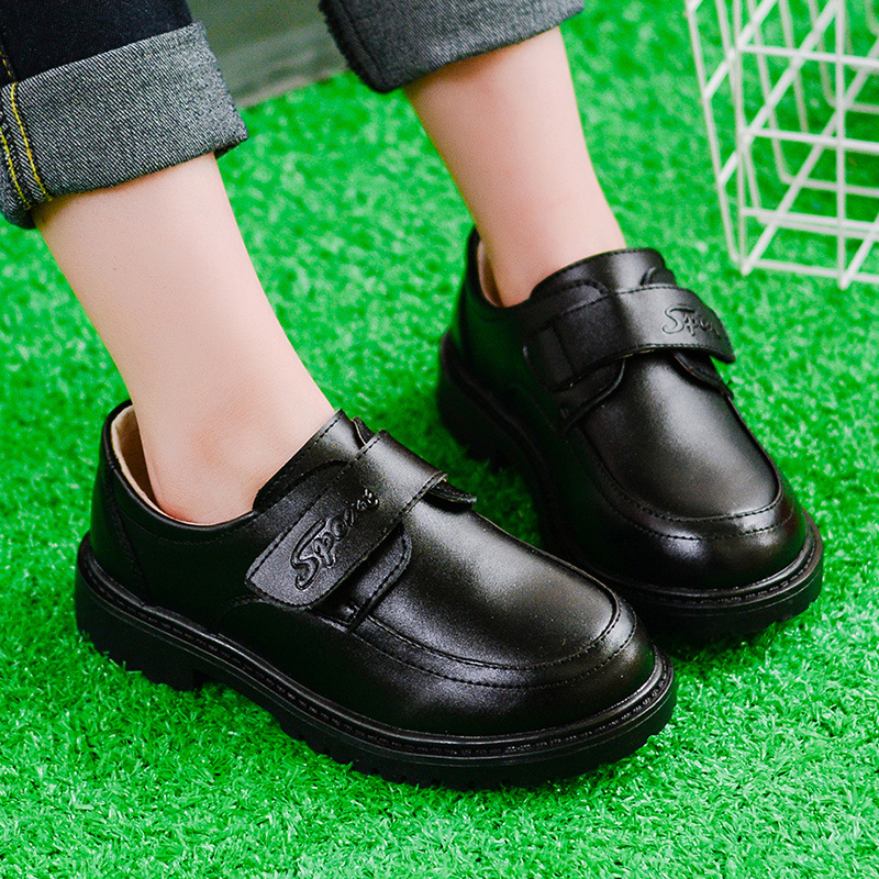 Boys Wedding Leather Shoes for Kids Genuine Leather Black School Oxford Dress Shoes Children Flat Etiquette Brand Rubber Sole