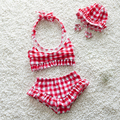 2017 Bikini Niñas traje de Baño Lindo de Los Niños del Verano Del Bebé Niños Infant Princesa Encantadora de Dos Piezas traje de Baño Con Gorro de Baño 0-7Y