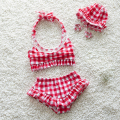 2017 Summer Children's Baby Bikini Girls Cute Swimwear Kids Infant Lovely Princess Two Pieces Swimsuit With Swim Cap 0-7Y