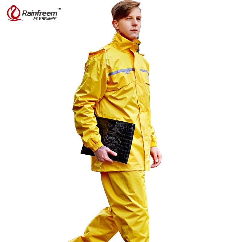 Rainfreem Impermeable Raincoat Kvinnor / Herr Hood Rain Poncho Vattentät Rain Jacket Pants Suit Rainwear Män Motorcykel Rain Gear