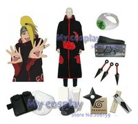 Apparel Naruto Akatsuki Deidara Cosplay Costume With all Accessories Kunai Headband Ring For Halloween Deidara Cloak