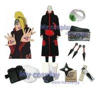 Kleding Naruto Akatsuki Deidara Cosplay Kostuum Met alle Accessoires Kunai Hoofdband Ring Voor Halloween Deidara Mantel
