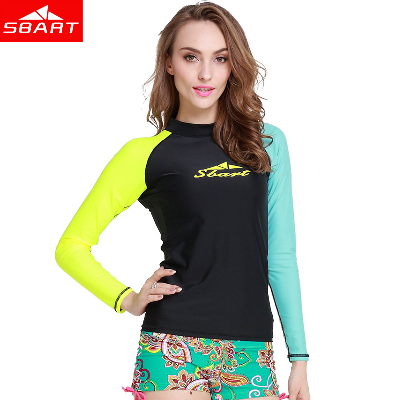 sbart surfing rashguard women swim top long sleeve swimsuit shirt anti uv surfing swimming. Black Bedroom Furniture Sets. Home Design Ideas