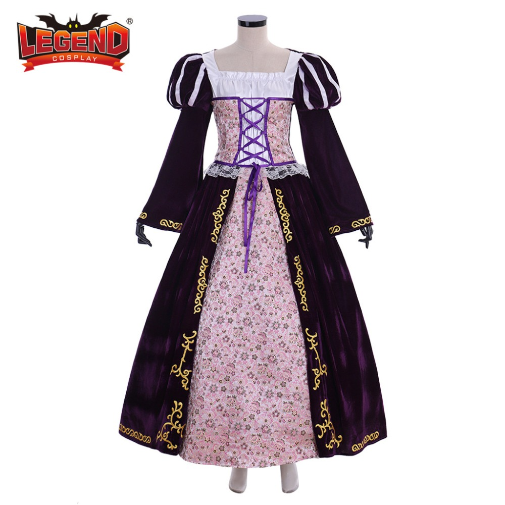 Tangled Princess Rapunzel Deluxe Costume dress cosplay costume velvet dress