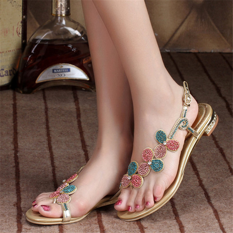 New Summer Flip-Flops Sandals Women Leather Flat Diamond Buckle Clip Toe Shoes Female Size 11 High Quality covoyyar 2018 fringe women sandals vintage tassel lady flip flops summer back zip flat women shoes plus size 40 wss765