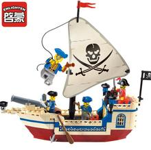Enlighten 304 Pirates Of The Caribbean Building Blocks Bounty Pirate Ship kids DIY Bricks toys Christmas Gifts for children in stock lepin 22001 pirates series the imperial flagship model building blocks set pirate ship toys for children 10210