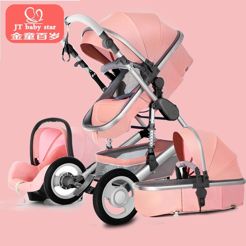 2018 3 in 1 baby strollers and sleeping basket newborn baby carriage 0~36 months Europe baby pram gold frame baby car free 3 in 1 baby strollers light baby car sleeping basket newborn baby carriage 0 36 months europe baby pram carriage five color
