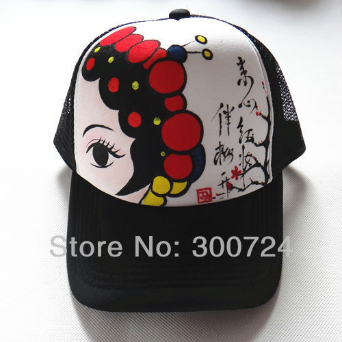 c1deaaafda1 custom traditional Chinese style hand painted trucker cap trucker hat mesh  hat