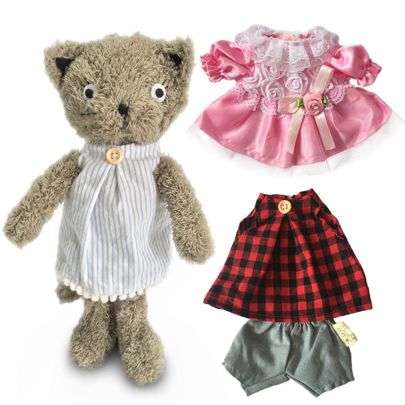 1 Set Kawaii Cats Plush Dolls With Change Clothes Stuffed Animal Soft Toys For Children Girls Kids Toys Gift (1 Cat & 2 Clothes)